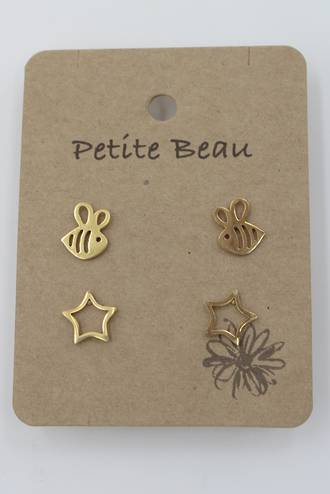 Petite Beau Stainless Steel Bee/Star Earrings Gold
