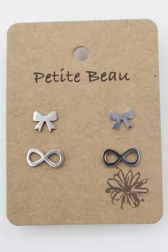 Petite Beau Stainless Steel Two Bow Earrings Silver