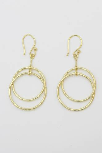 Double Ring Brass Earrings