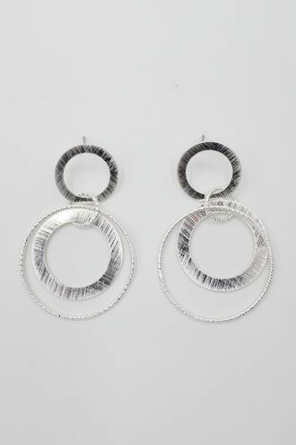 Brushed Silver Loop Earrings
