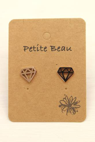 Petite Beau Stainless Steel Pyramid Earrings