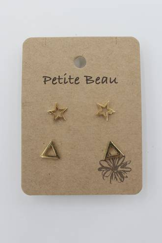Petite Beau Stainless Steel Star/ Triangle Earrings Gold