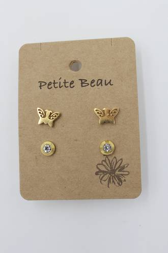 Petite Beau Stainless Steel Earring Butterfly/ Diamond Earring Gold