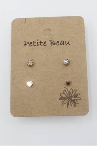 Petite Beau Stainless Steel Diamond/Heart Earrings Gold