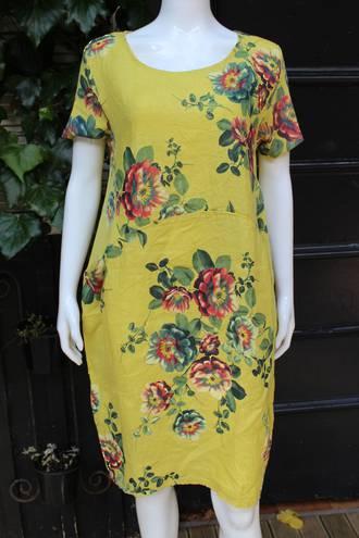 Fleur Rose Pattern Linen Dress Mustard