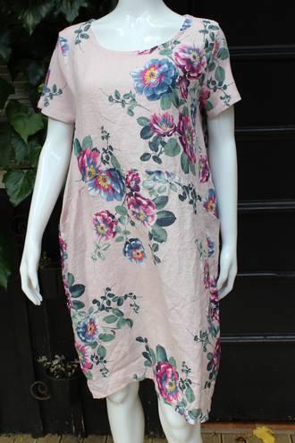 Fleur Dress Rose Pattern Linen Dress Pink