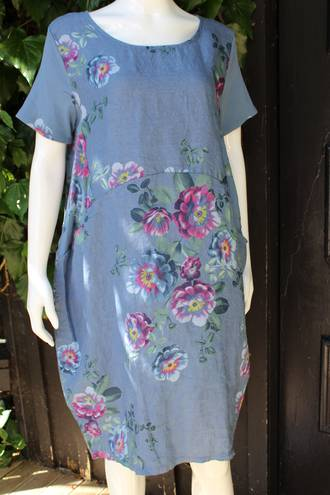 Fleur Rose Pattern Linen Dress Denim Blue