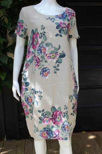 Fleur Rose Pattern Linen Dress Beige