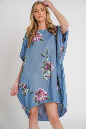 Adeline Linen Dress Denim Blue