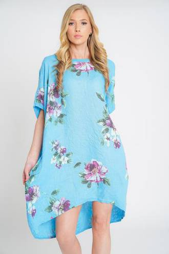 Adeline Linen Top/ Dress Bright Blue