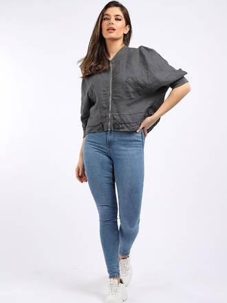 Mia Linen Jacket Charcoal