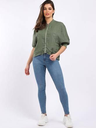 Mia Linen Jacket Khaki