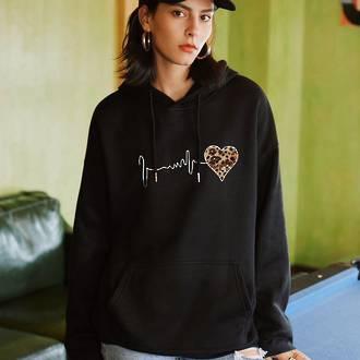 Pulse Heart Hoodie Black (Medium)