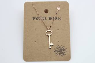 Petite Beau Stainless Steel Key Necklace