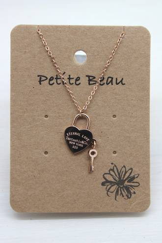 Petite Beau Stainless Steel Keyheart Necklace