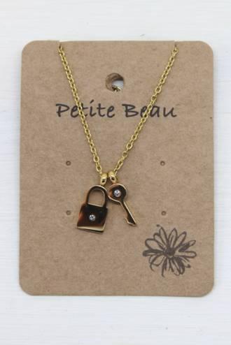 Petite Beau Stainless Steel Lock & Key Pendant