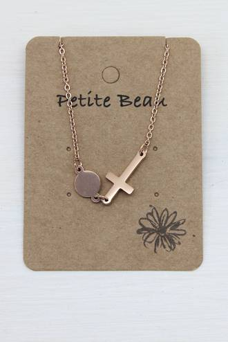 Petite Beau Stainless Steel Sideway Cross Necklace