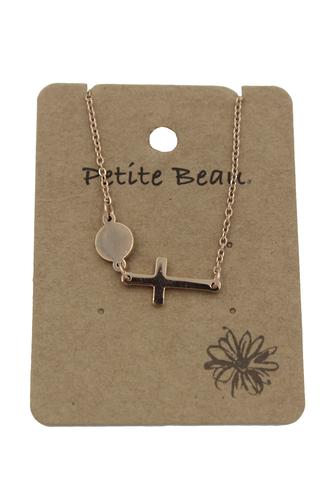 Petite Beau Stainless Steel Sideway Cross Necklace