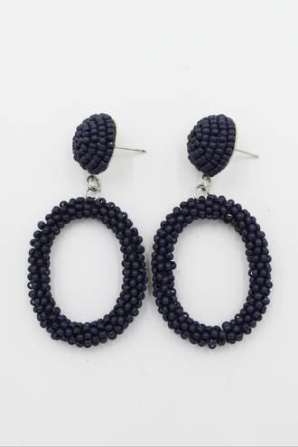 Navy Loop Earrings