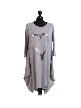 Romance Heart Cocoon Dress light Grey