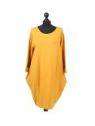 Sasha Cotton Dress - Long Sleeve Mustard