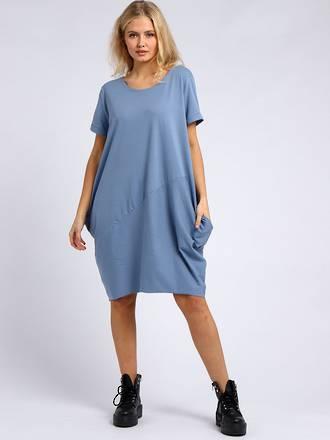 Sasha Cotton Dress- Short Sleeve Denim Blue