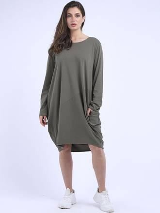 Sasha Cotton Dress Long Sleeve Khaki