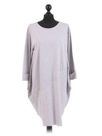 Sasha Cotton Dress Long Sleeved Light Grey