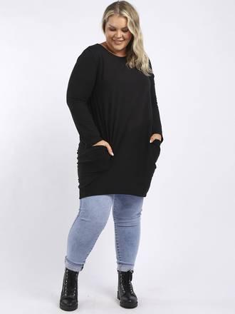 Sasha Cotton Long Sleeved Dress Black