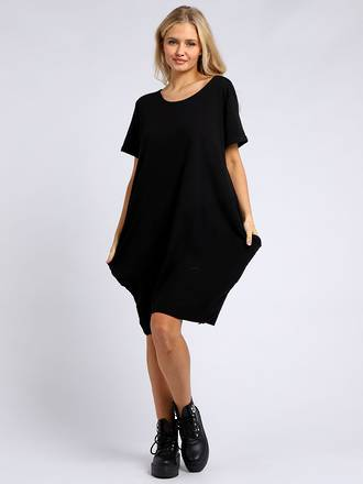 Sasha Cotton Dress Short Sleeve - Navy
