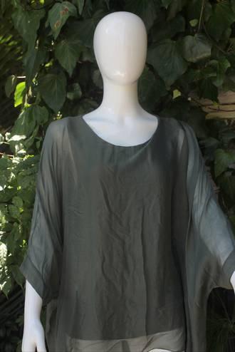 Silk Bat Wing Top Khaki