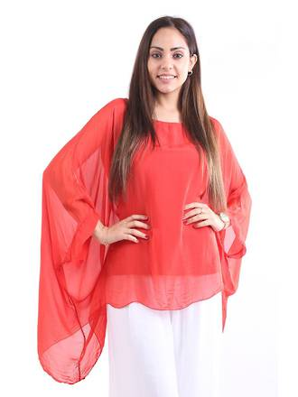 Silk Bat Wing Top Red