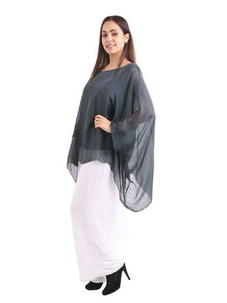 Silk Bat Wing Top Charcoal