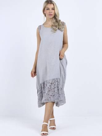 Silvie Lace Long Dress Light Grey
