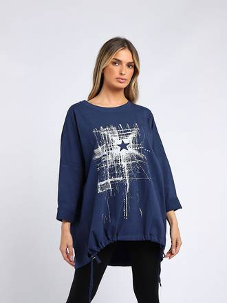 Starburst Cotton Sweater Navy