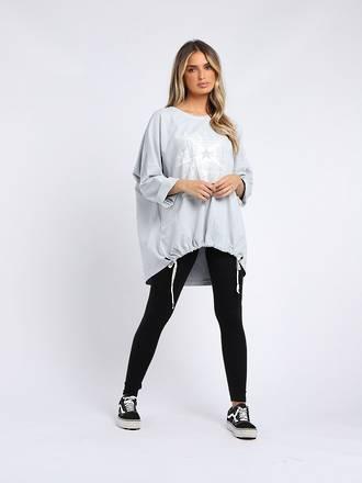Starburst Cotton Sweater Light Grey