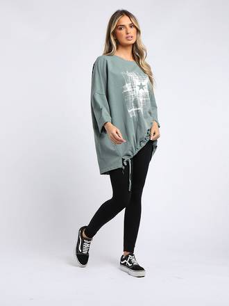 Starburst Cotton Sweater Sage Green