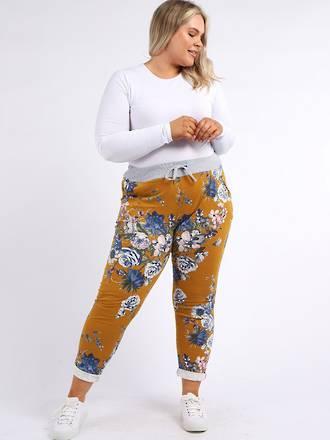 Denver Floral Mustard Trousers (Size 10-12)