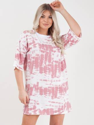 Tie Dyed Boyfriend T-Shirt / Dress Pink 3 Pack (S,M,L)