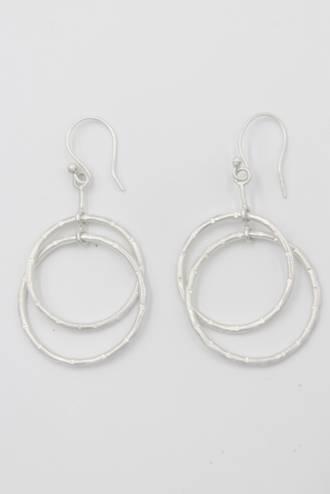Double Ring Earrings Silver (Brass)