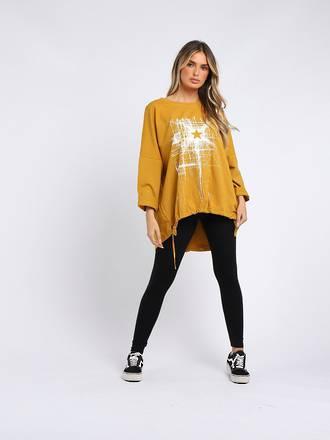 Starburst Cotton Sweater Mustard