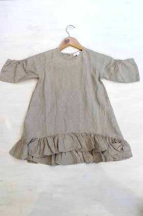 Madeline Taupe Linen Dress 4-6 Years