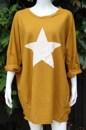Stardom Cotton Long Sweater Mustard