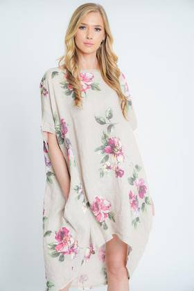 Adeline Linen Dress Beige
