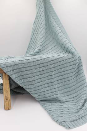 Baby Cable Blanket Blue