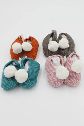 Baby Pompom Booties (4 Colours)