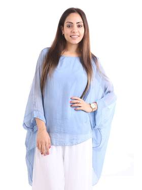 Silk Bat Wing Top Light Blue