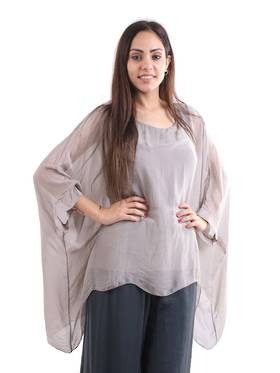 Silk Bat Wing Top Mocha