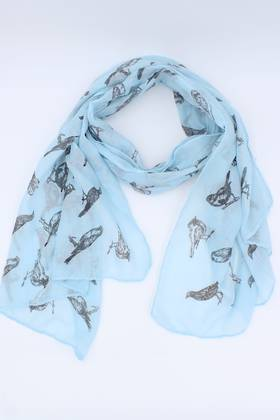 Sketch Bird Scarf Blue