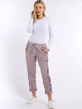 Camo Side Stripe Trousers Pink